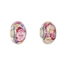 DIY pärlor glas blomma rund form stora hål pärlor 1pcs