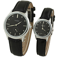 Couple's Luxury Brand Dress Quartz Wristwatches  Leather Band