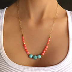 European Style Fashion Simple Metal Turquoise Bead  Necklace