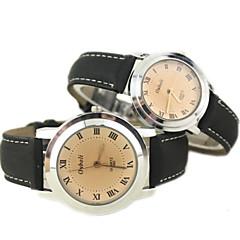 Couple's Simple Design PU Band Quartz Wrist Watch