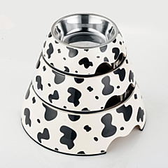 alta qualità ciotola melamina stampa mucca con il piatto in acciaio inox per il gatto e cani (formati assortiti)