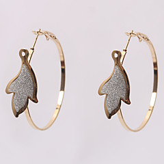 European Fashion Leaf Patch Alloy Hoop Earrings Wedding/Party/Daily/Casual 2pcs