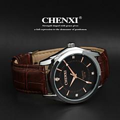 남성 손목 시계 일본 쿼츠 캐쥬얼 시계 가죽 밴드 블랙 상표- CHENXI®