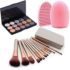 12pcs maquiagem cosméticos caixa de ferramenta de blush fundação jogo de escova + 15colors do shimmer paleta da sombra + 1pcs ferramenta
