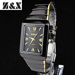 남성 드레스 시계 석영 스테인레스 스틸 밴드 블랙