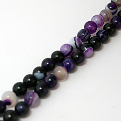 Beadia 39Cm/Str (Approx 62PCS) Natural Agate Beads 6mm Round Dyed Purple Color Stone Loose Beads DIY Accessories