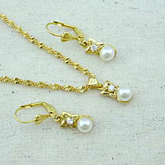 18K Golden Plated Pearl Necklace+Earrings Jewelry set