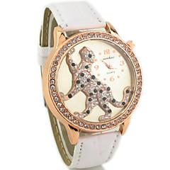 Women's Diamante Round Dial PU Band Quartz Analog Casual Watch