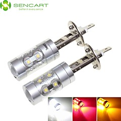 2 x H1 P14.5S 50W 10xCREE LED White / Red / Yellow / Cold White 3100LM 6500K for Car Fog Light AC / DC 12-24V