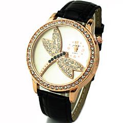 Women's Shinning Design With Dragonfly Pattern PU Band Analog Quartz Wrist Fashion Watch