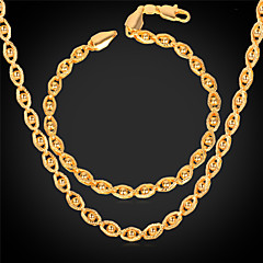 U7® Women Gold Jewelry 18K Real Gold Plated New Trendy Gold Little Beads Eyes Shaped Fancy Chain Necklace Bracelet Set