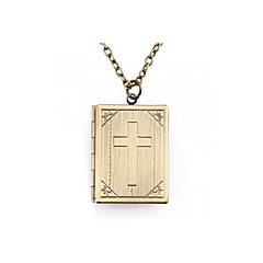 Antique Bronze Metal Cross Photo Locket Necklace Pendant Chain 1.4x1.1
