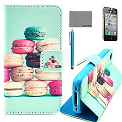 COCO FUN® Colorful Macarons Pattern PU Leather Case with Screen Protector and USB Cable and Stylus for iPhone 4/4S