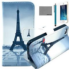 Coco fun® padrão torre guarda-chuva vermelho estojo de couro pu com protetor de tela e cabo USB e caneta para iPhone 5 / 5s