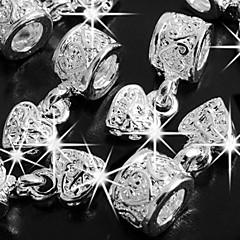 6stk hjerte forsølvede spacer perler fit charme 6mm hot