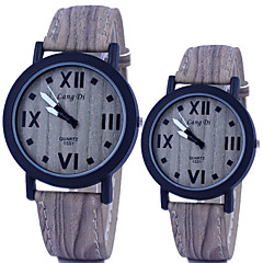 Couple's Watch Vintage Wooden Surface Quartz PU Band