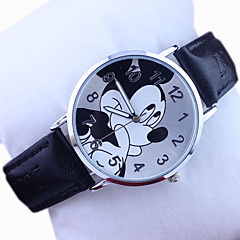 Kinder Disney Micky Muster PU-Band niedlichen Cartoon-analoge Armbanduhr