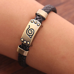 Unisex Young Fashion Jewelry Alloy Cosplay Naruto Hokage Ninjia Leather Bracelet Shamballa Bracelets Charm Bracelets