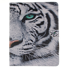 White Tiger Pattern PU Leather Full Body Case with Stand and Card Slot for iPad 2/3/4