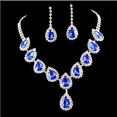 Lucky Doll Women's 925 Silver Plated Gemstone & Crystal Zirconia Long Tassel Water Drop Necklace & Earrings Jewelry Sets