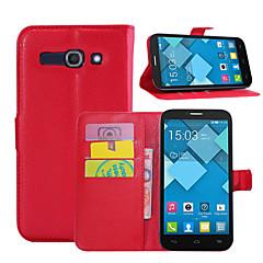 carteira de aleta da tampa do caso pu couro de telefone celular para Alcatel One Touch pop c5 / Alcatel One Touch pop c7 / Alcatel pop c9