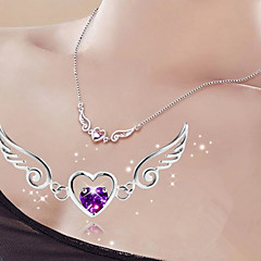 Woman Heart-shaped  Wings Of Love  Silver Pendant Necklaces