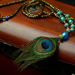 Ethnic Alloy Wood Feather Necklace Pendant Necklaces 1pc