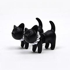 Kolczyki na sztyft Perłowy Imitacja pereł Żywica Animal Shape Kot Matowa czerń Black Biżuteria Na 2pcs