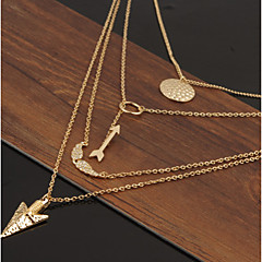 Women In The European And American Fashion Angel Wings Arrow Scales Hanging Piece Of Multilayer Necklace