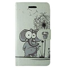 Cartoon Elephant and Dandelion Pattern PU Leather Flip Case for iPhone 7 7 Plus 6s 6 Plus SE 5s 5c 5