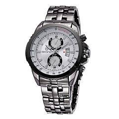 SKONE Herren Armbanduhr Quartz Kalender Wasserdicht Edelstahl Band Schwarz Silber Schwarz/Weiß Schwarz Silberschwarz Weiß/Silber