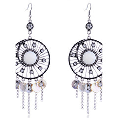 European Style Retro Hollow Out Wafer Shell  Tassels Alloy Drop Earrings