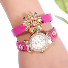 YILISHA ® Girls' PU Bangle Bracelet Band Watches Round Dial Quartz Dress Watches Flower Rhinestone Pendant Jewelry
