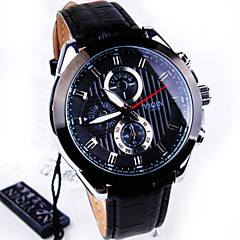 Men's High-grade Business Round Dial PC Movement Leather Strap Fashion Life Waterproof Quartz Watch (Assorted Colors)