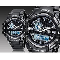 OHSEN Herre Dame Unisex Sportsur Armbåndsur Digital LED Kalender Kronograf Vandafvisende Gummi Bånd Sort