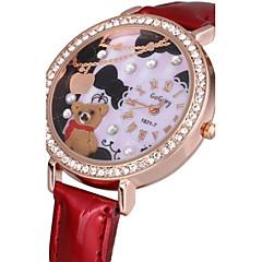Da donna Orologio alla moda Quarzo PU Banda Brillanti Floreale Nero Bianco Rosso Marrone Bianco Nero Marrone Rosso Rosa