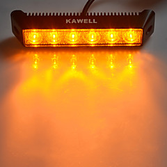 "KAWELL® 18W 7.5"" 3000K 1200LM 60 Degree Amber LED Flood Beam Light Bar"