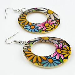 Vintage Look Natural Round Natural Sea Shell Color Flower Printed Drop Dangle Earring(1Pair)