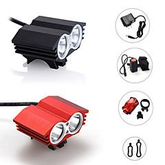 Luzes de Bicicleta LED 3 Modo 2400 Lumens Prova-de-Água / Recarregável / Bisel de Golpe / Tático / Emergência Cree XM-L2 18650.0Campismo
