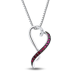 Women's Fashion Sterling Silver set with Diamond and Created Ruby Heart Shape Pendant with Silve Box Chain