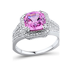 Women's Classic Sterling Silver set with Created Pink Sapphire and Natural Diamond Ring