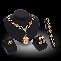 Lucky Doll Women's Vintage 18K Gold Plated Zirconia Cut Out Long Necklace & Earrings & Bracelet & Ring Jewelry Sets