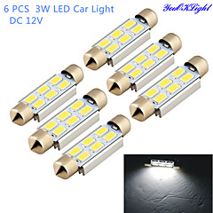 youoklight® 6 stuks slinger 42mm 3W 260lm 6 x smd 5630 led wit licht decoderen auto leeslamp koepel lamp (12V)