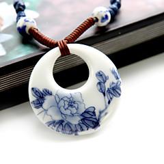 Fashion Chinoiserie Jingdezhen Ceramic Blue-And-White Pattern Pendant Necklace