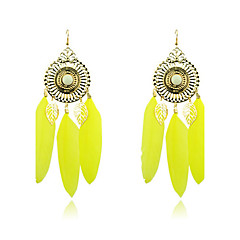 Bohemian Crystal Great Circle Feather Gold Plating Drop Earrings