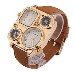 Pánské Náramkové hodinky Křemenný Hodinky s dvojitým časem Kůže Kapela Khaki Značka-