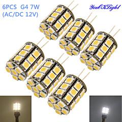 7W G4 LED a pannocchia T 27 SMD 5050 600 lm Bianco caldo Luce fredda Decorativo DC 12 AC 12 V 6 pezzi