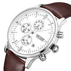 Hommes Bracelet Montre Quartz Japonais Calendrier / Chronographe / Etanche Cuir Bande Noir / Marron Marque- MEGIR