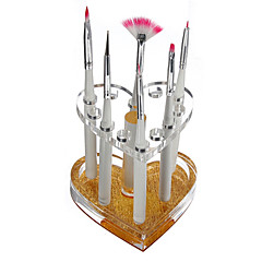 Professional Makeup Nail 12 Holes Acrylic Gel Brush Pen Holder Heart Gold Rest Stand Display