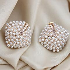 Dames Oorknopjes Oor manchetten Luxe Sieraden Kostuum juwelen Parel Kristal Imitatieparel Verguld Gesimuleerde diamant Geometrische vorm